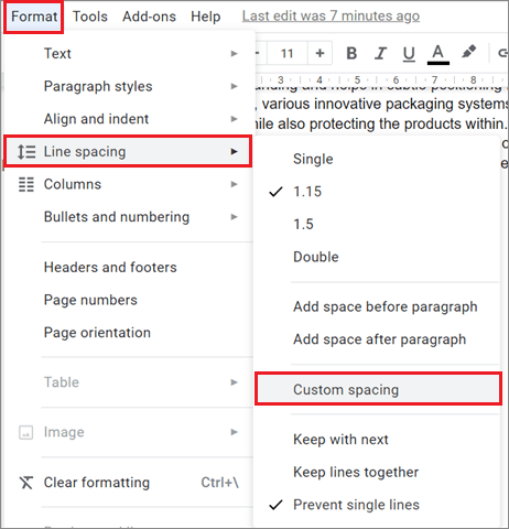 Select Custom Spacing how to delete page in Google Docs.