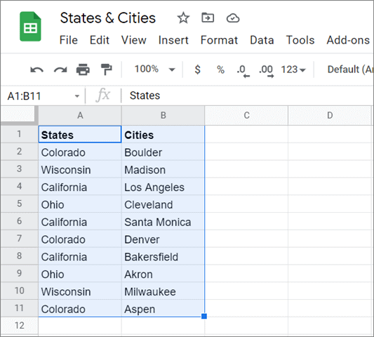 Select the data range for how to sort multiple columns in google sheets