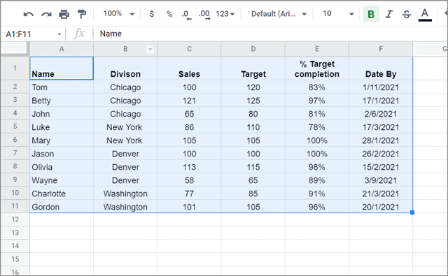 Select the data to filter