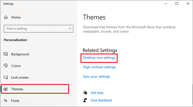 select desktop icon settings to fix windows 10 desktop icons missing