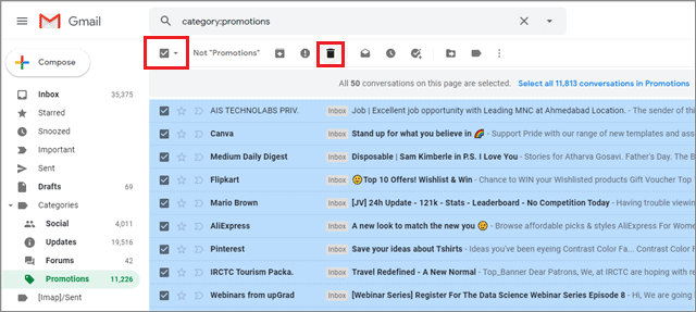 how to delete all promotions in gmail