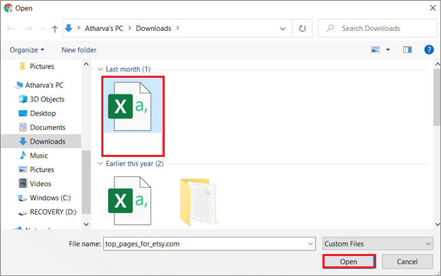 Select the CSV file for how to Edit Contacts In Gmail