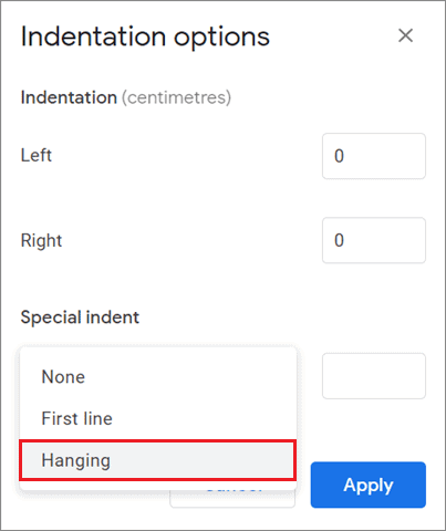 Select Hanging indent
