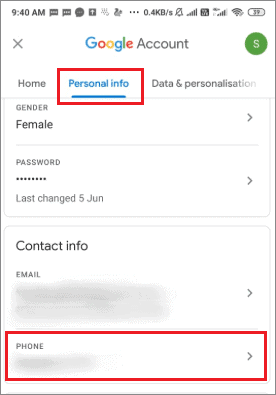 select phone option for how to change phone number on gmail