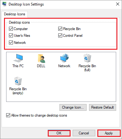 select preferences to fix windows 10 desktop icons missing