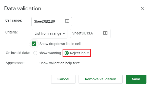 Select Reject input for google sheets drop down