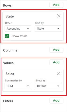 Select the required parameters