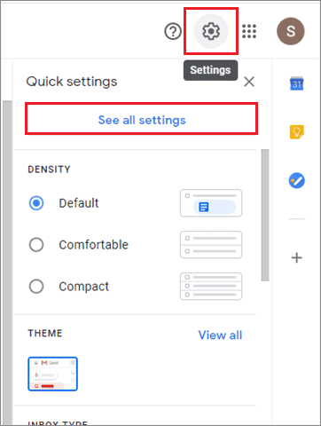 select settings and click on see all settings