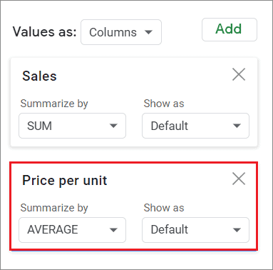 Select the average parameter