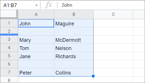 Select the range for COUNTIF Google Sheets function
