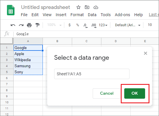 select the range of cells and click ok