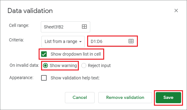 google sheets drop down select the range