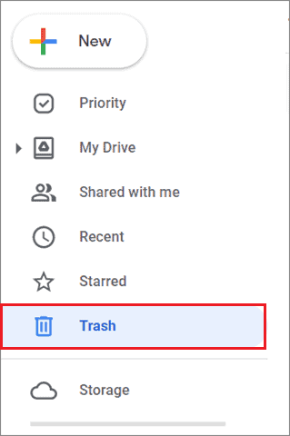 Click on Trash in Google Drive