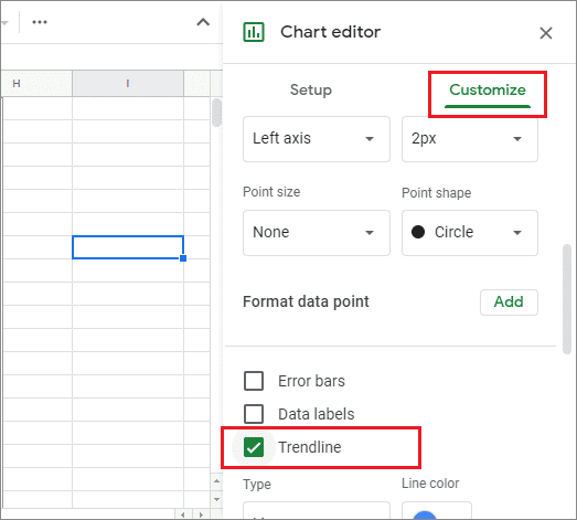 select trendline for how to add a trendline in google sheets