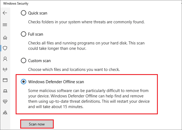 select windows defender offline scan when games keep crashing pc