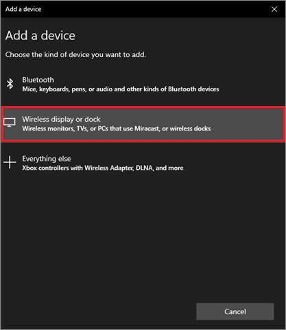 select wireless display or dock to fix second monitor not detected windows 10