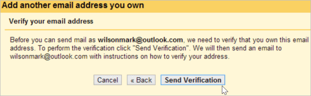 You need to prove that you own your email addresses through the use of verification codes.