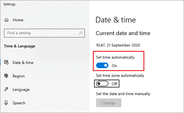 set time automatically on to fix discord not opening windows 10
