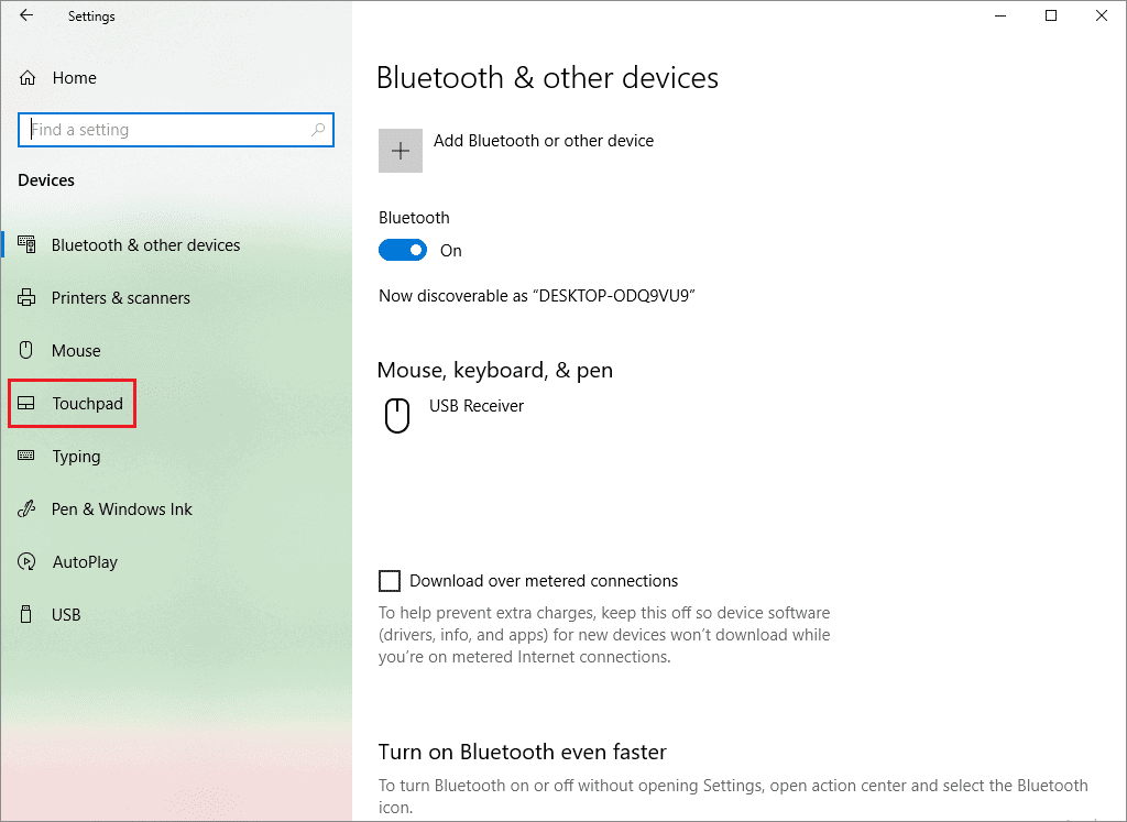 settings app to disable touchpad windows 10