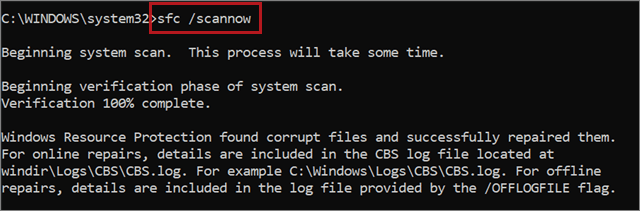 Execute the sfc /scannow command