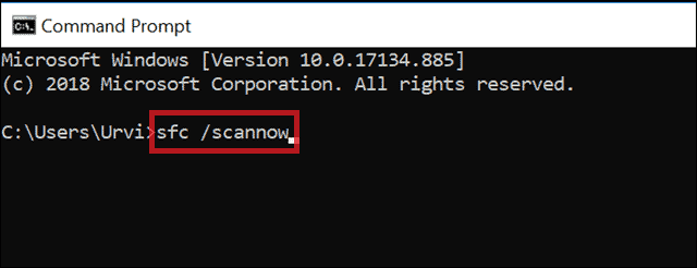 sfc scannow to fix corrupted files