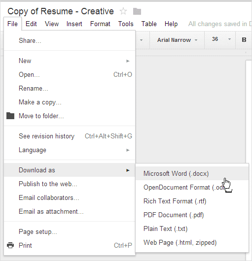 google docs templates resumes