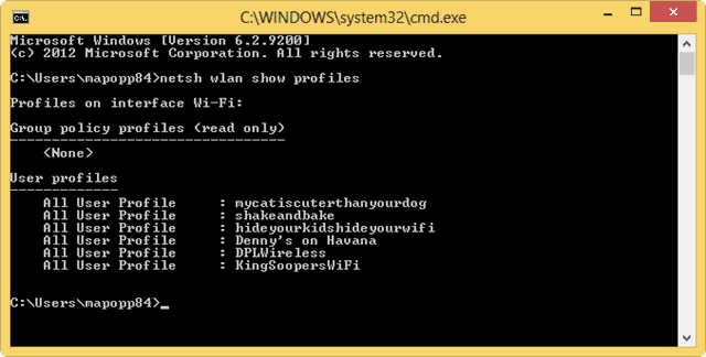using-the-command-prompt-to-view-stored-profiles