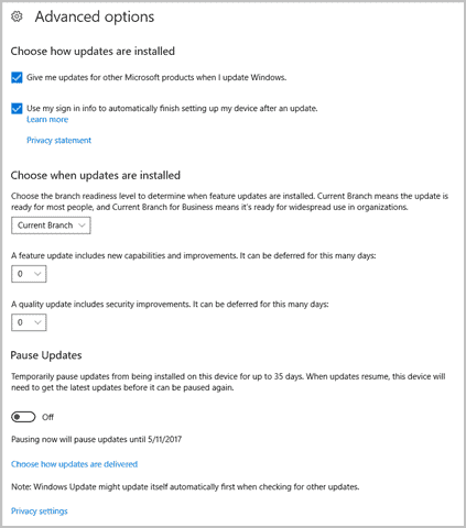 Advanced options in Windows Update in Windows 10 Creators Update