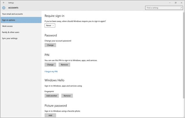 Windows Hello in Settings app