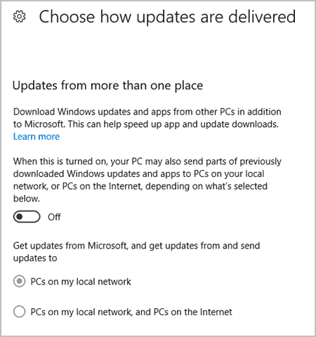 Choose how updates are delivered in Windows 10 Creators Update