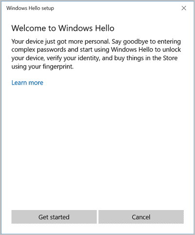 Windows Hello fingerprint tutorial