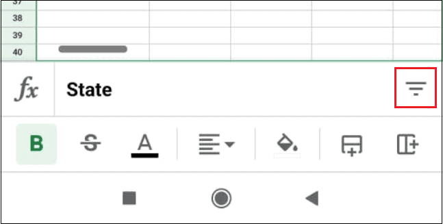 Tap on the filter in google sheets app