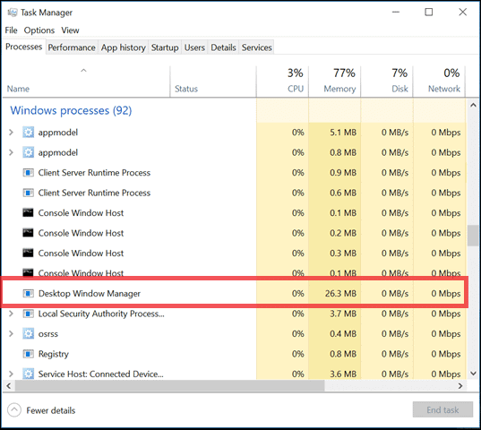 Desktop Window Manager in Task Manager