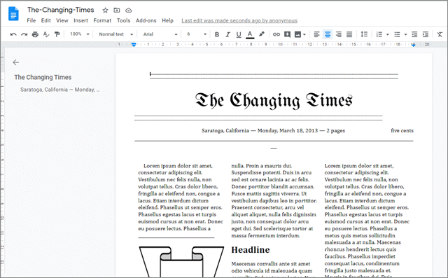 the changing times newsletter templates