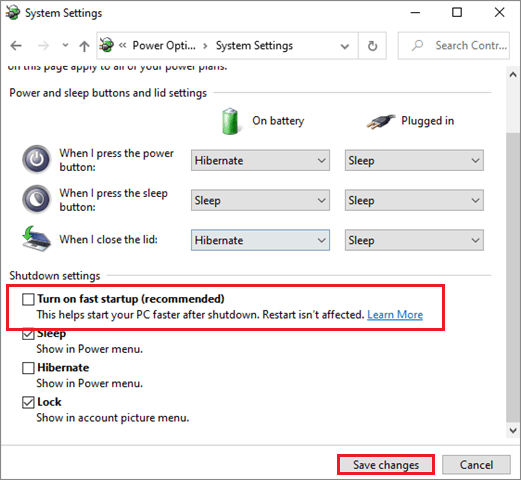 turn off fast startup to fix can't login to windows 10