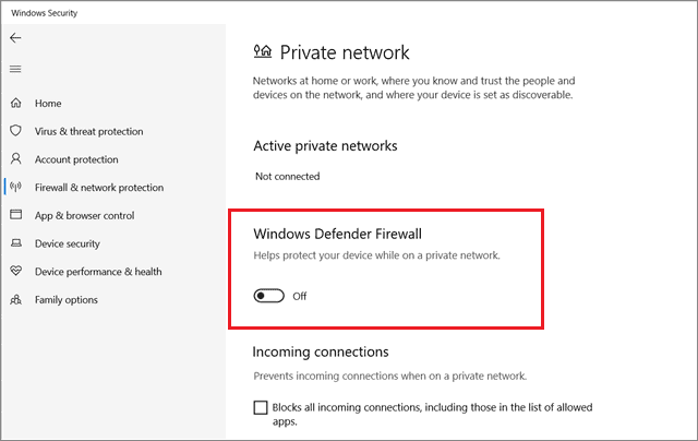 Turn off the firewall for all network profiles To Fix Can't Create A New Folder In Windows 10