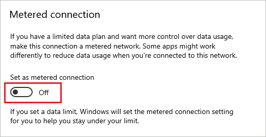 Turn of Metered connection