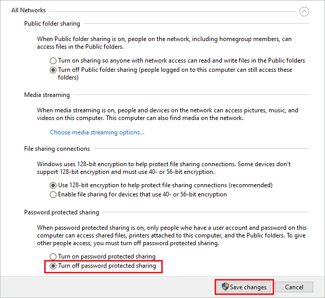 Disable password protected sharing to fix error 0x80004005
