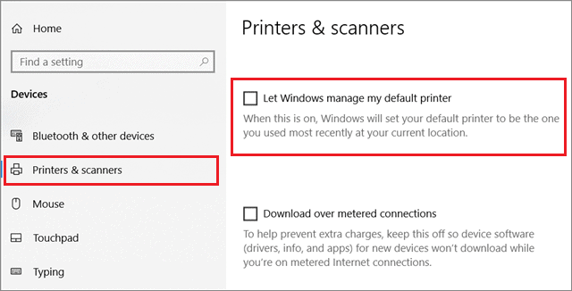 Uncheck the box to fix computer can't find printer