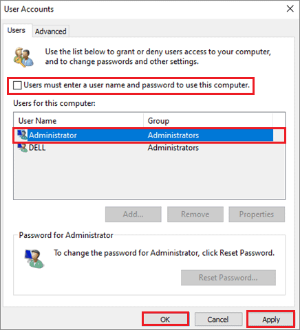 uncheck the box and save settings to fix windows 10 no login screen