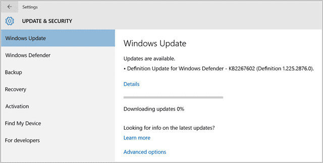 updating windows 10