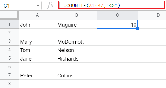 Calculate the non-blank cells with COUNTIF Google Sheets function