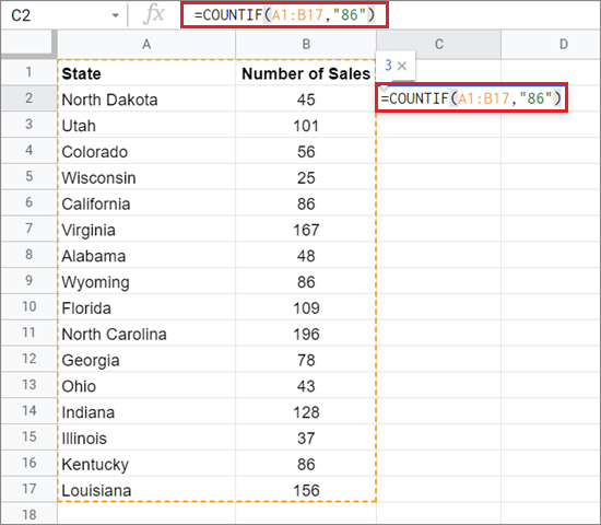 Type the formula in the given sales table