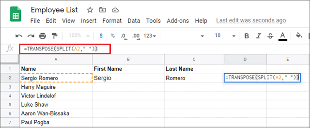 use the transpose function for google sheets split text to columns