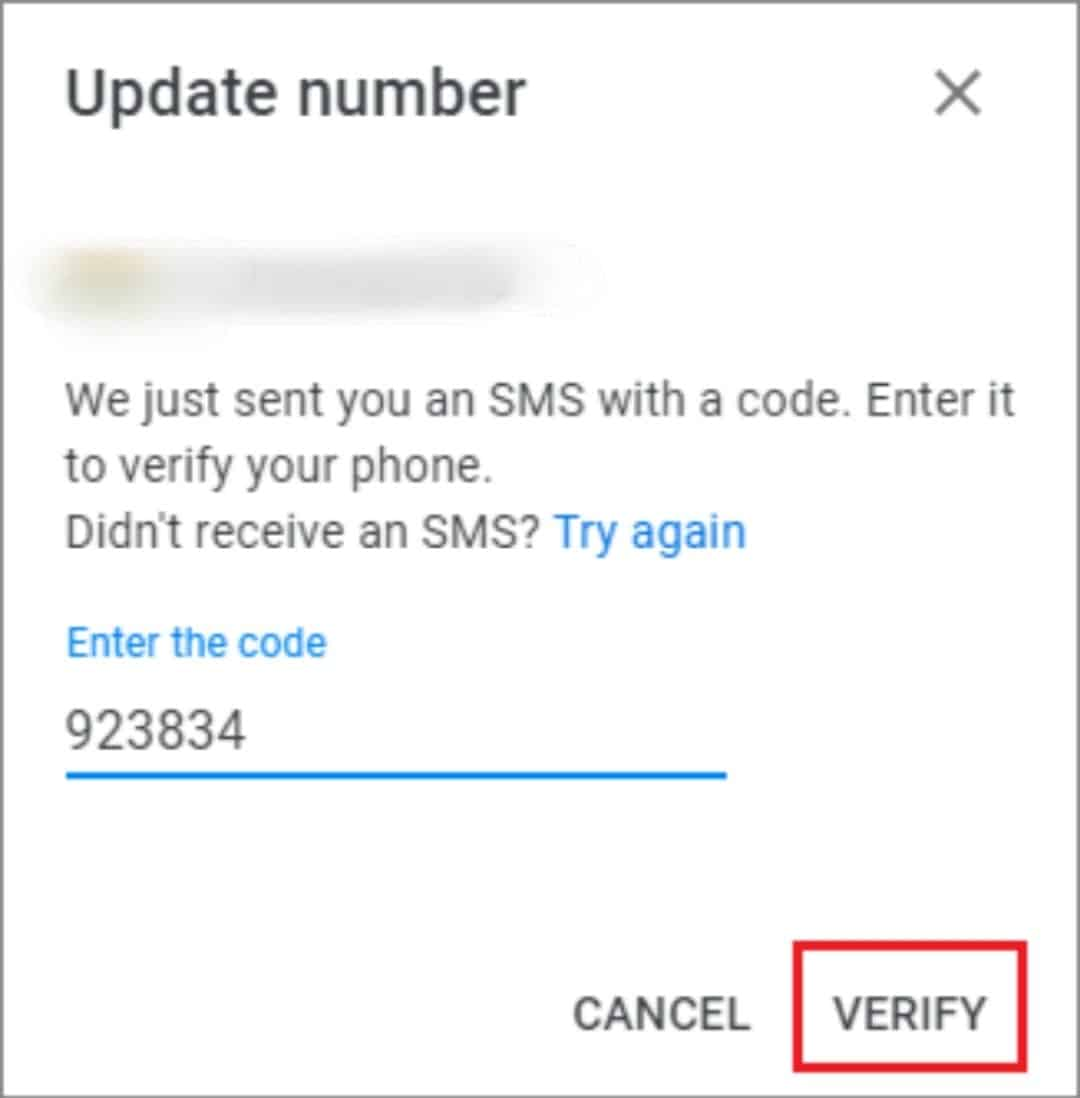 verify the new phone number