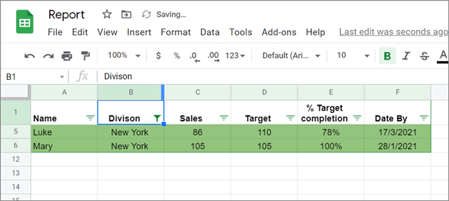 View the results for filter Google sheets