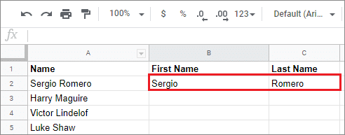 Use the Google Sheets split cell feature and view the result