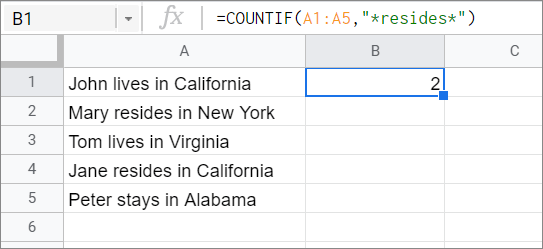 View the results for COUNTIF Google Sheets function