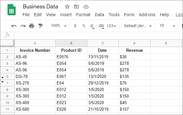 hide rows in google sheets