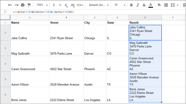 View the merge cells in google sheets